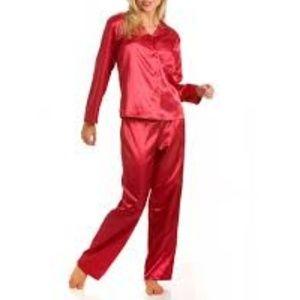 Red silk pajamas size small two piece set